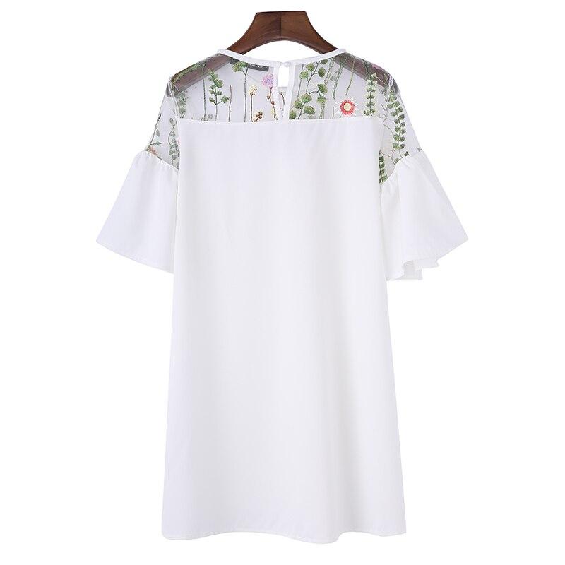 Pregnant Women Casual Loose Mini Dress 2018 Summer Short Sleeve Mesh Embroidery Splice A-line Elegant Solid Vestidos Plus Size