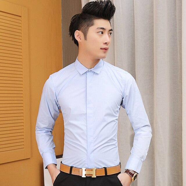27bb2838ced89 Nueva 2016 hombres de marca de manga larga Shirt Slim Fit camisas Casual  hombres moda ropa
