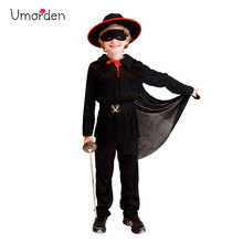 Umorden Purim Childrens Day Halloween Costumes for Child Kids Boys Black Masked Knight Hero Zorro Costume Cosplay Infantil