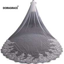 Doragrace Gorgeous 4 Metres Lace Edge Sequins Cathedral Length Long Bridal Wedding Veil With Comb