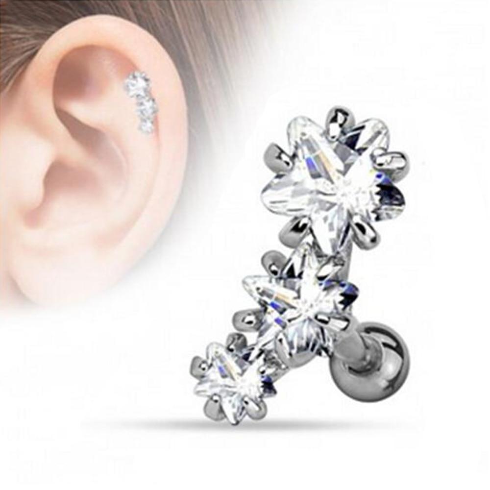 Surgical Steel Prong Set Triple Star Zircon Tragus Cartilage Helix Earring  Stud Piercing Ear Body Jewelry