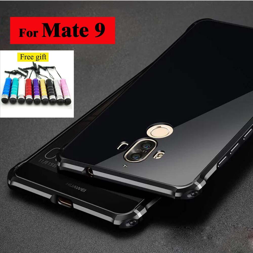 imágenes para Para Huawei Mate 9 de Metal de Aluminio Caso de Parachoques de Lujo de Alta Luz Cubierta de parachoques del Caso del Capítulo para el Mate 9 Caso Protector de la Cáscara Del Teléfono