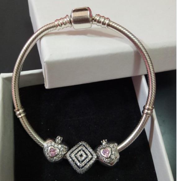 100% authentique 925 Sterling Argent avec charmes serpent chaîne européenne coeur amour charme bracelet collier Bijoux pour le Cadeau