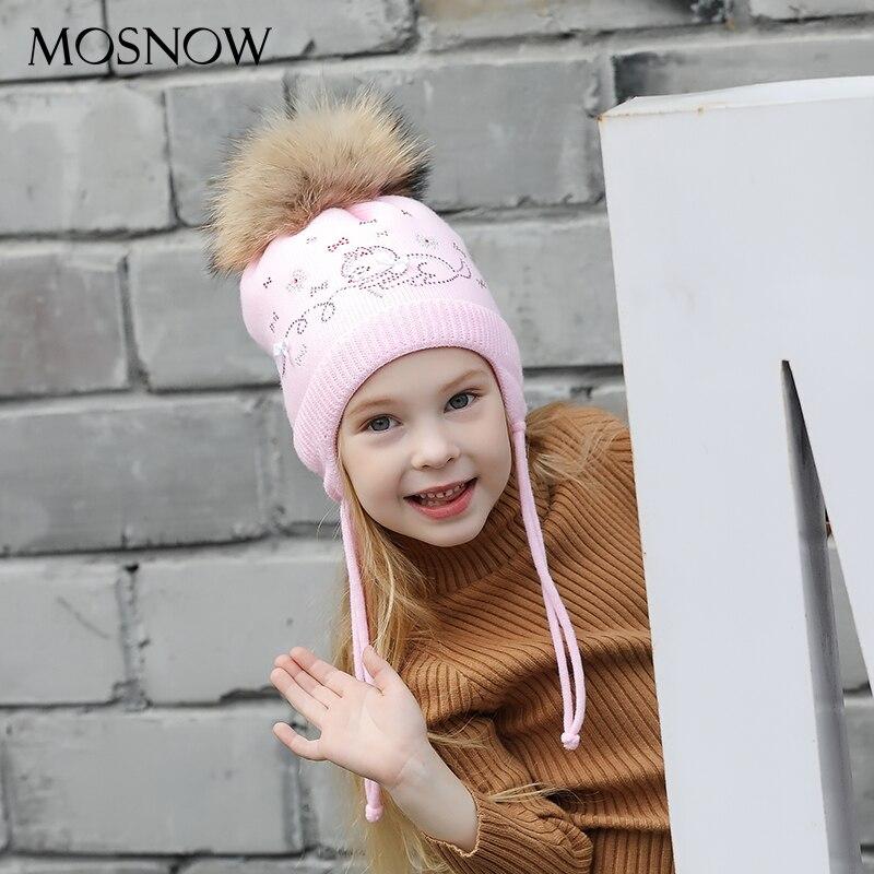 Шапки для девочек красивые розовые банты осенние шапочки высокого качества вязаные теплые наушники помпон зимняя шапка # MZ842