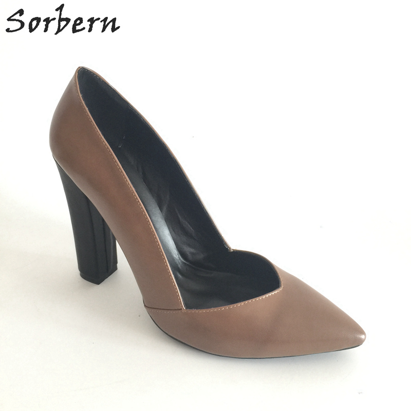 Sorbern Brown Slip-On Pointed Toe Square High Heels Spring Style Custom Big Size 33-46 Pumps Designer Shoes Women Luxury 2017