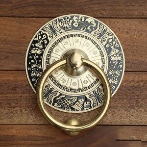 Китайский античный дверной молоток, латунная дверная ручка, винтажная гравировка, декоративные деревянные дверные ручки, ручки, Круглый ко...