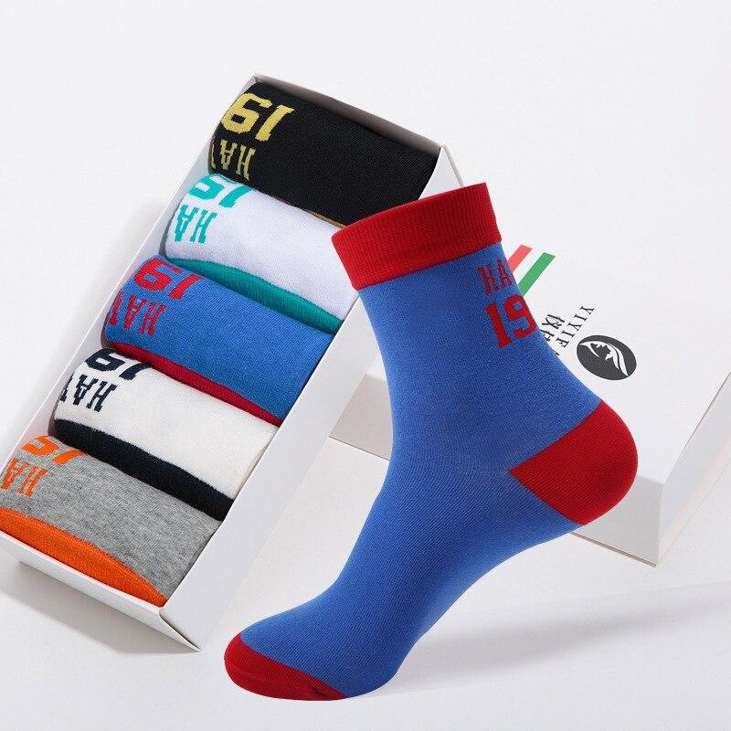 Rongge Happy Socks Men New Pattern Casual Cotton Socks Male Motion Polyester Leisure Time Socks Letter Socks Autumn Winter new