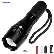 Flashlight E17 XM-L2 8000LM Tactical Led Torch Zoom LED Flashlight Torch light For 3xAAA or 1x 18650 battery Rechargeable light