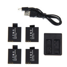 4 unids 3.7 V 900 mAh Batería + de Doble Cargador de Batería para SJCAM SJ4000 SJ5000 SJ6000 SJ 4000 5000 Cámara accesorios