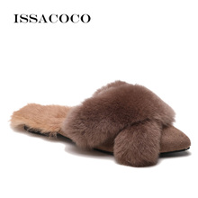 ISSACOCO Women Winter Non-slip Flat Warm Cotton Fur Slippers Slides Furry Wholesale