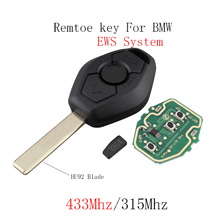 433/315Mhz Remote Key for BMW EWS System 3 X5 Z3 Z4 1/3/5/7 Series Transponder PCF7935 Chip HU92 Blade Original Car Key