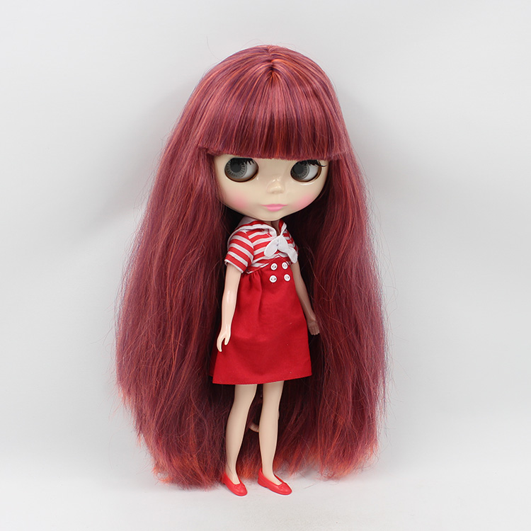 Nude Blyth bjd doll big eyes b female makeup doll change DIY red-brown color bangs long hair bjd fashion doll