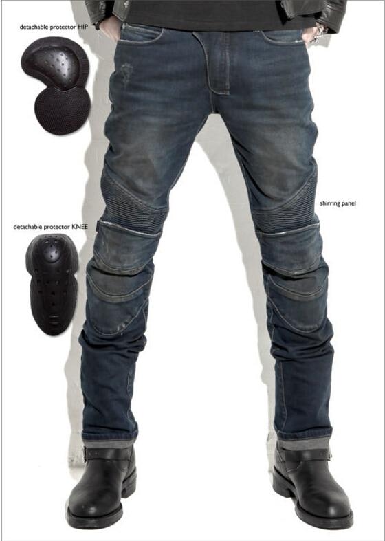 2016 Ең жаңа uglyBROS Күлгін джинсы Стандартты нұсқасы автокөлікпен жүру джинсы шалбар Мотоцикл джинсы Дринді түсі Көгілдір және сұр