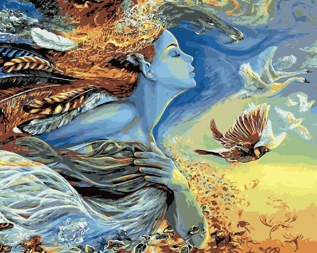 Us 2451 5 Offmahuaf I775 Abstrakte Frau Schmetterlinge Fliegen Vögel Malen Nach Zahlen Tier Malen Nach Zahlen Leinwand Gemälde Für Wohnkultur