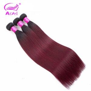 Image 3 - アリエルオンブル髪織り 3 バンドルと閉鎖 1B/99Jブルゴーニュワイン赤オンブルインドnonremyストレート人間の髪のバンドル