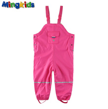 Mingkids girl waterproof overalls thick warm autumn spring fleece lining trousers PU outdoor Coating baby loose pants windproof