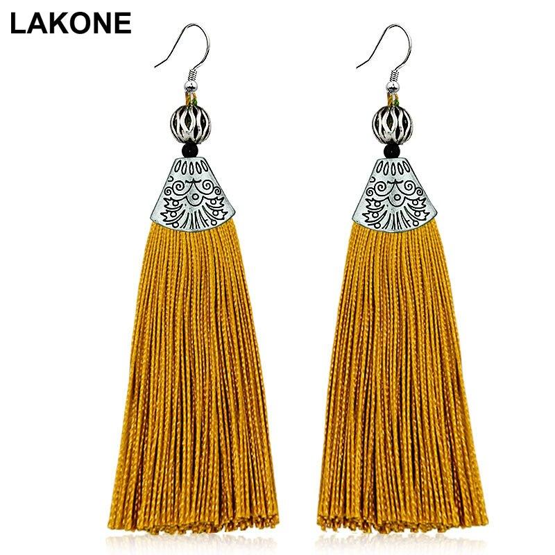 LAKONE Bohemian Silk Tassel Earrings Beautiful High Quality Black Red Long Drop Tassel Dangle Earrings Women Fashion Jewelery