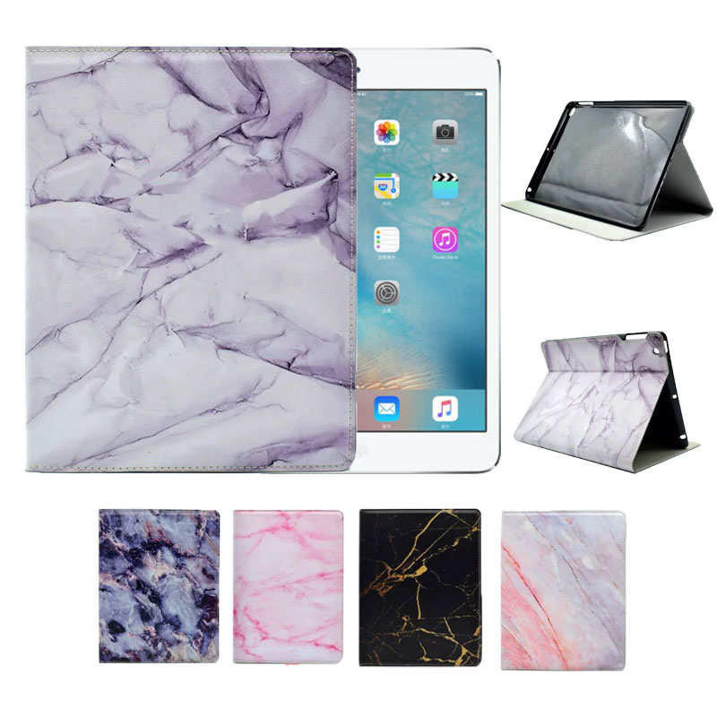 Marble PU Leather Flip Cover For Apple Ipad 234 Air 1 Air 2(5 6) Protective Tablet Case For Ipad With Sleep Function Capa Para 2017 silicon slim soft tablet case for ipad air 1 rubble protective funda cover for apple ipad air 1 2 for ipad 5 6 case capa