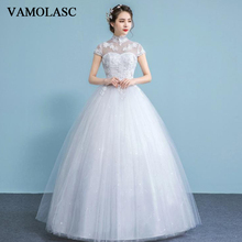 VAMOLASC Illusion Pearls High Neck Lace Appliques Ball Gown Wedding Dresses Short Cap Sleeve Backless Bridal Gowns