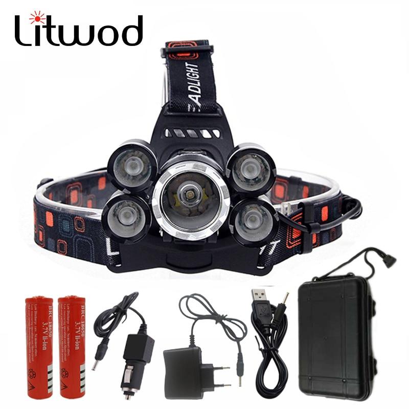 Litwod Z30 NEUE 15000Lm XML T6 5 Led-scheinwerfer-scheinwerfer Kopf lampe Licht 4 modus taschenlampe 2x18650 akku auto-ladegerät für angeln