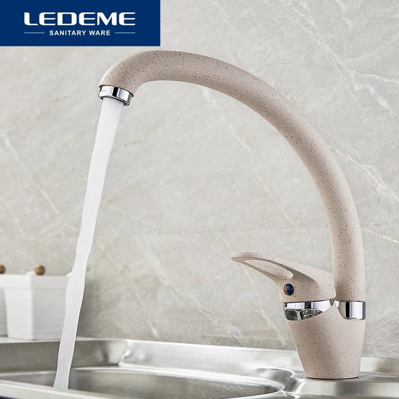 LEDEME Faucet Brass Kitchen Mixer Cold And Hot Single Handle Swivel Spout Kitchen Water Sink Mixer Tap Faucets L5913 4 Color