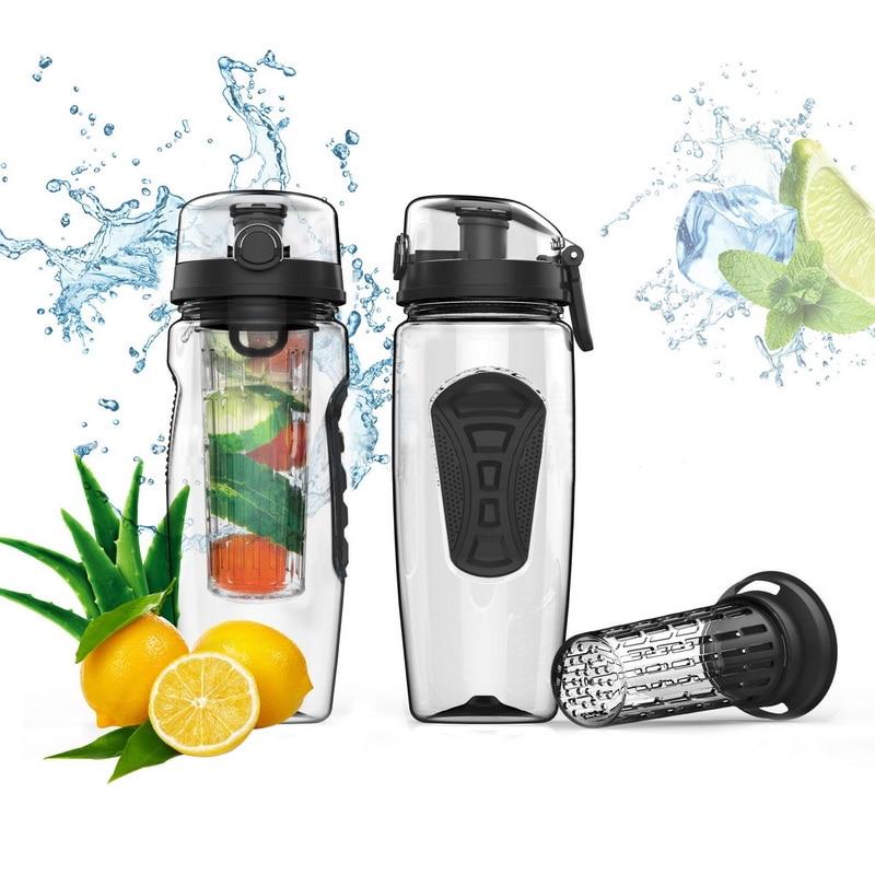 Hoomall 1000ml Black Tritan Sports Shaker Water Bottle BPA Free Fruit Infuse Juice Lemon Bottle for Water Tour Travel Camping