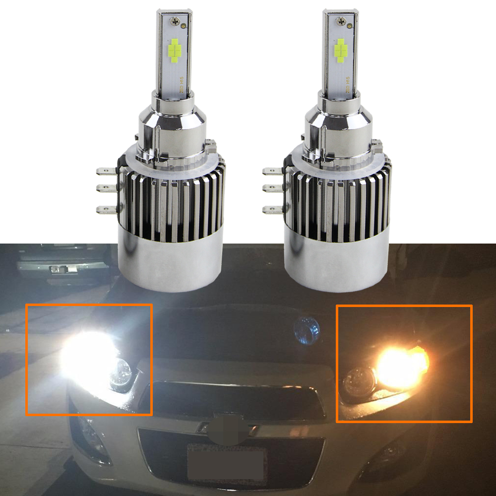 2X H15 Replacement Led Headlight Bulb Kit Error Free Canbus DRL Daytime Running Light 6000K White Light For Benz GLK300 GLK200 2x 1156 p21w canbus error free for sharp chips led daytime running lights bulb for vw volkswagen jetta mk6 scirocco sharan seat