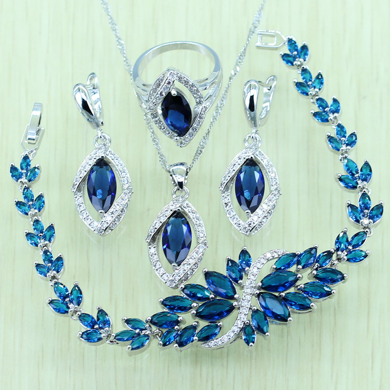 Reginababy Blue Rhinestone White Zircon Silver color Jewelry Set For Women 925 Logo Bracelet/Necklace/Earrings/Ring/Pendent