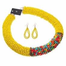 Fashion Multicolor Handmade Resin Beads Chunky Statement Bib Choker BK Necklace Earring Sets