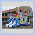 New Design Cars Inflatable Bounce House with 2 lanes Slides for Sale
