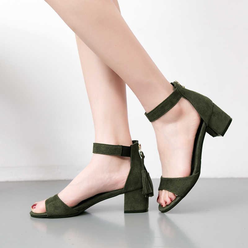 06cbad674 ... Woman Shoes 2019 summer Tassel Flock women sandals fringe sandal heels  Thick high heels sandals sandalias