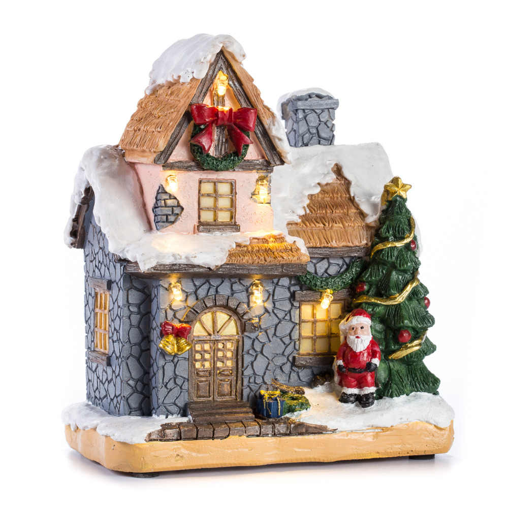 "6""Resin Christmas Scene Village Houses Town With Warm White LED Light Battery Operate Christmas Ornamnet Holiday Gifts"