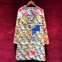 Svoryxiu Runway luxury Winter Overcoat Outwear Women's Gorgeous Appliques Beading Sequins Floral Print Wool Blended Long Coat