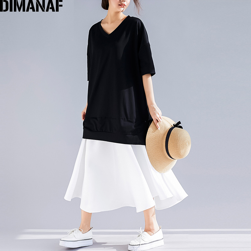 DIMANAF Plus Size Women Dress Summer Sundress Cotton Female Lady Elegant Vestidos V-Neck Spliced Black Loose Long Dress 2019 New