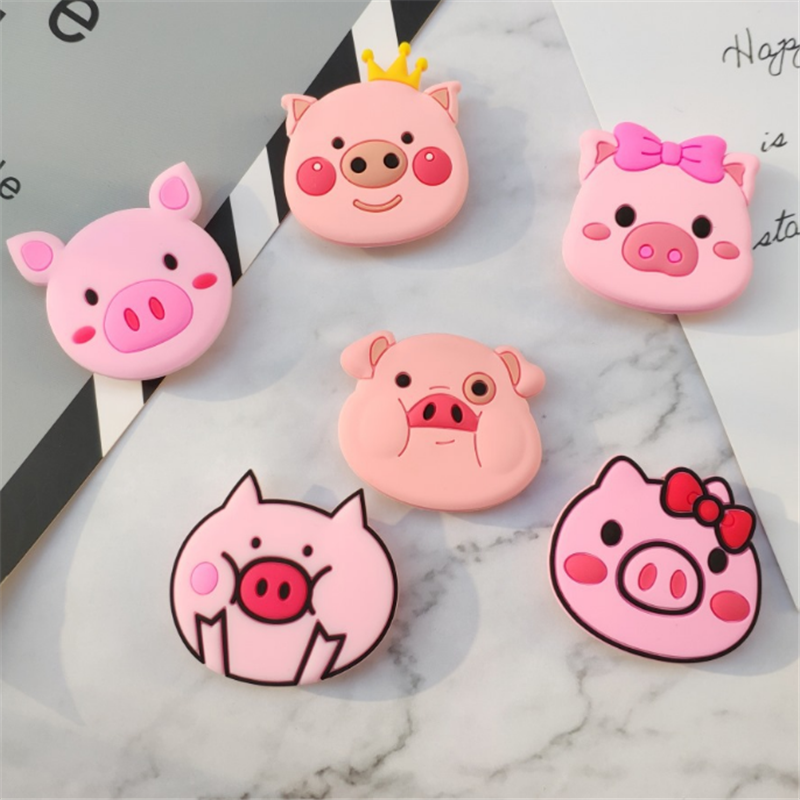 UVR Phone Holder Stand Universal Handy Holder Epoxy Bracket Lazy Finger Stand Holder 3D Cartoon Animal Pig New Year Gift Mount
