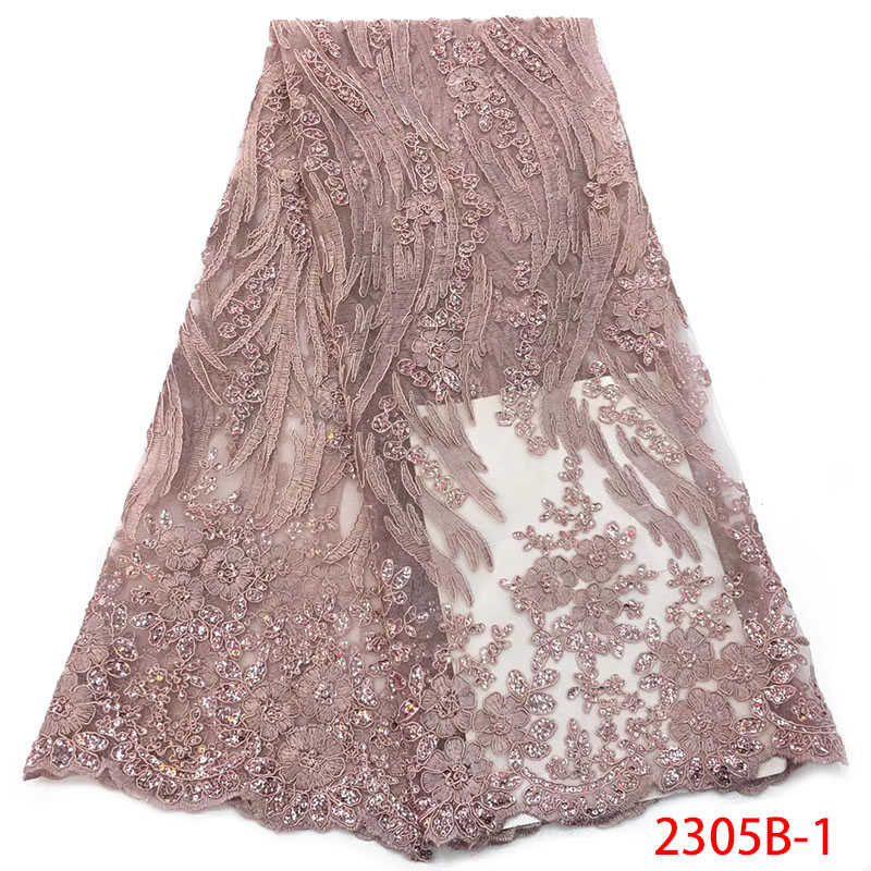 Latest Style Nigerian Lace Fabrics 2019 High Quality Sequin Embroidered Mesh African Lace Fabric French Tulle