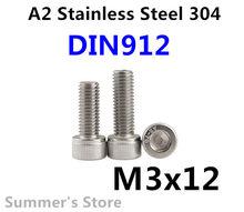 100 шт./лот DIN912 M3 винт из нержавеющей стали с шестигранной головкой винт M3 * 12 мм болт