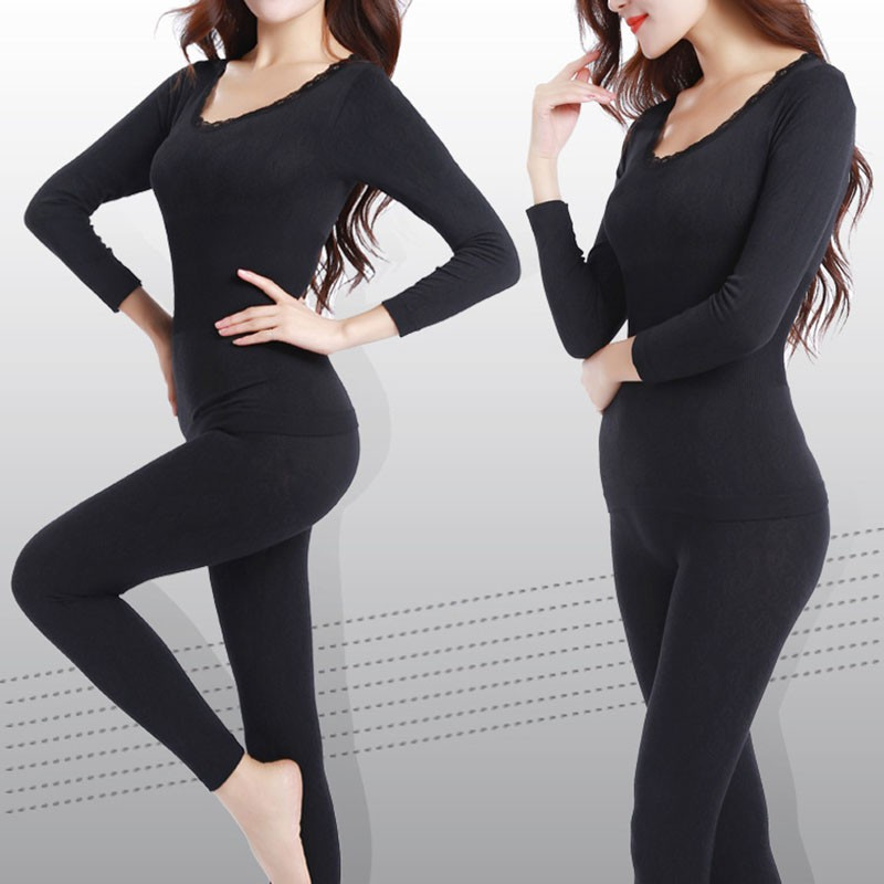New Women Winter Thermal Warm Sloid Underwear Suit Ladies Thermal Underwear Set Women Long Johns W1