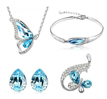 JS S109 Butterfly Jewelry Set High Quality Bridesmaid ...