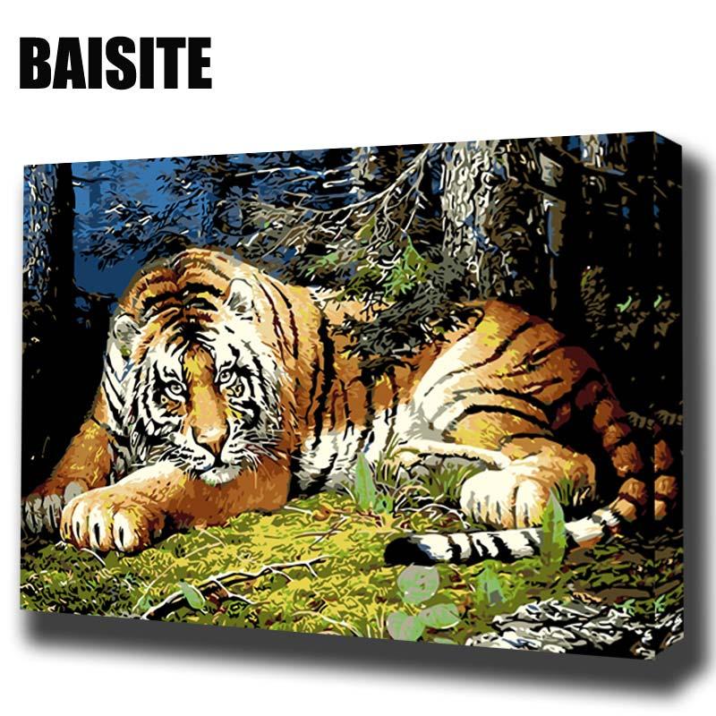 ᐅBaisite DIY pintura al óleo enmarcada por números animal cuadros ...