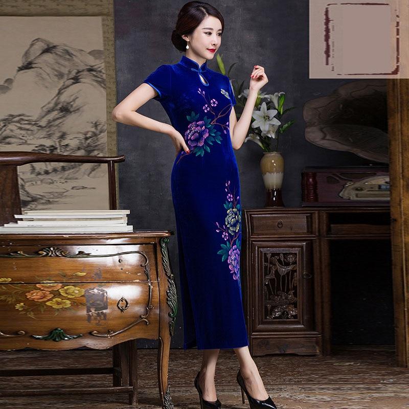 اللباس الصينية تشيباو زائد الحجم أكمام فساتين السهرة طويل تمتد شيونغسام شرقية رداء فام تشينويسي تشى باو الفاخرة