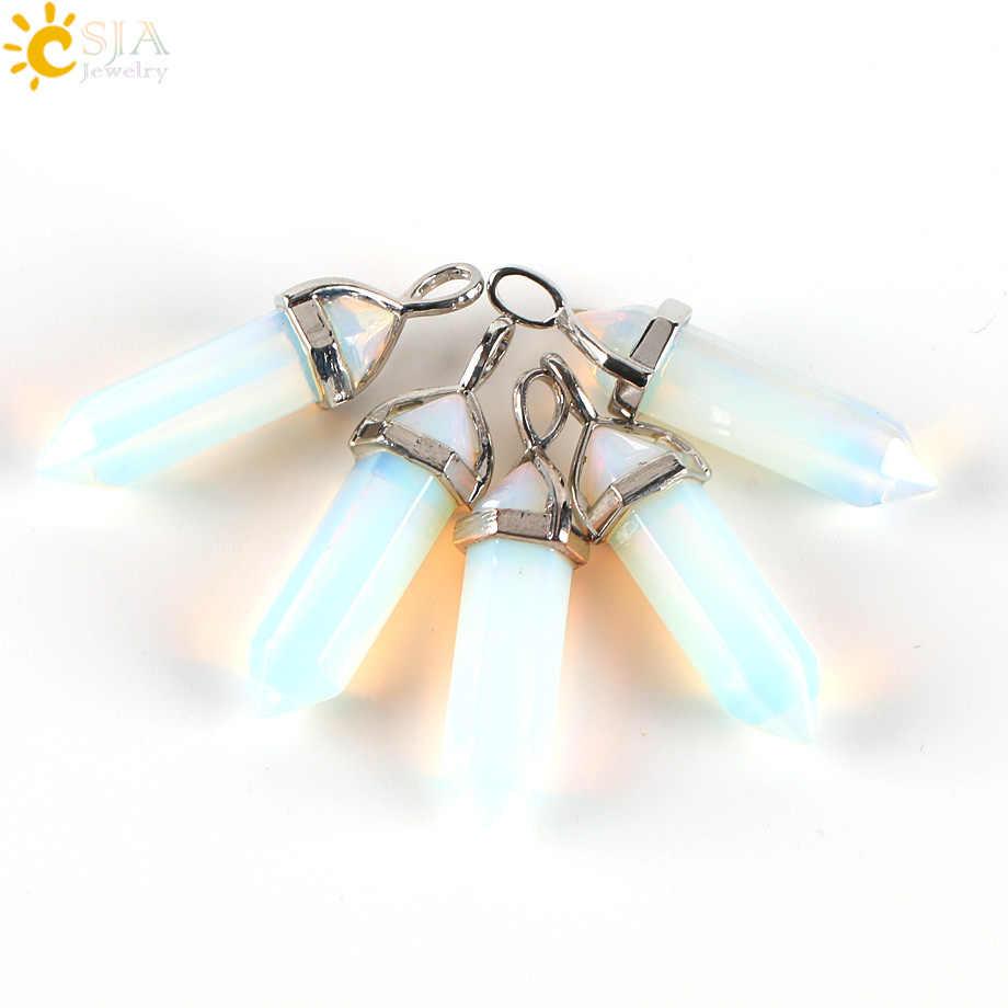 CSJA 六角形プリズムオパール半貴石宝石の石弾丸形状サスペンションペンダント & ステートメントネックレス E271
