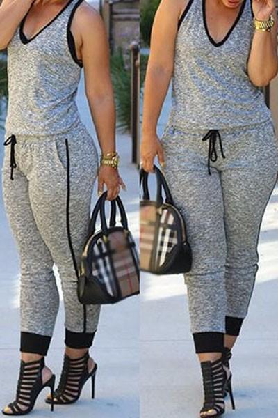Grey-Drawstring-Waist-V-Neck-Sleeveless-Jumpsuit-LC60578-2