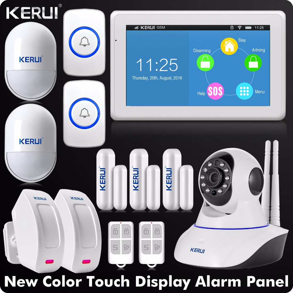 DHL EMS Delivery Touch-Screen WIFI GSM Alarm 7 Inch TFT Color Display Home Alarm System Security+Wireless Curtain PIR Detector купить в Москве 2019
