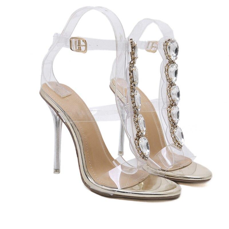 Sangle Or Mode D'été Ouvert De Femme Gold Hauts Boucle Transparent À Bout Chaussures 2018 Cristal Femmes Luxe Pvc Sandales Sexy Talons FXTxgnfn
