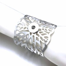 Leaves 118 Exaggerated Flowers Arm Big Fit 18mm Snap Button Bangle Bracelet Cuff Jewelry Snap button bracelet jewelry for women chic exaggerated alloy cuff bracelet for women