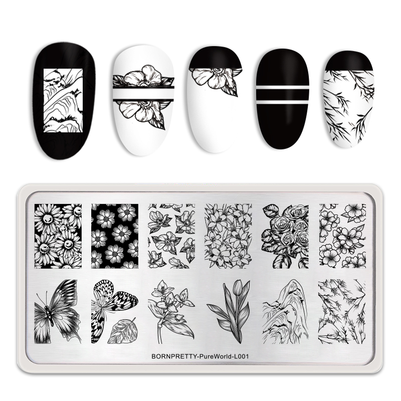 <font><b>BORN</b></font> <font><b>PRETTY</b></font> Nail Stamping Plates Mixed Flower Butterfly Pattern Image Plate Nail Art Template Tools Rectangle <font><b>L001</b></font> image