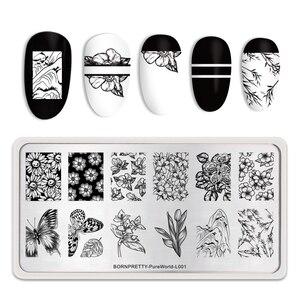 Image 2 - נולד די מלבן נייל Stamping צלחות פרח פרפר מעורב תבנית תמונת נייל ארט עיצוב כלים חותמת תבנית סטנסיל