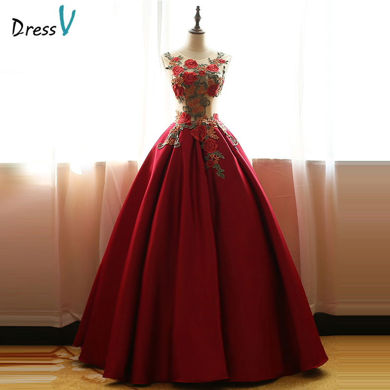 Dressv Dark Red Scoop Ball Gown Embroidery Quinceanera