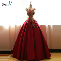 Dressv Dark Red Scoop Ball Gown Embroidery Quinceanera Dress Sleeveless Floor Length Lace Up Quinceanera Dress